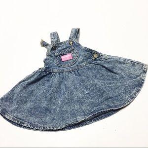 OshKosh Vintage Acid Wash Denim Overall Dress 18m